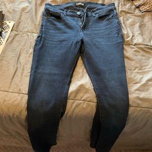 Express dark blue super skinny mid rise jean